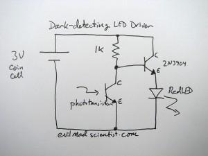 Schéma - Détecteur d'obscurité LED